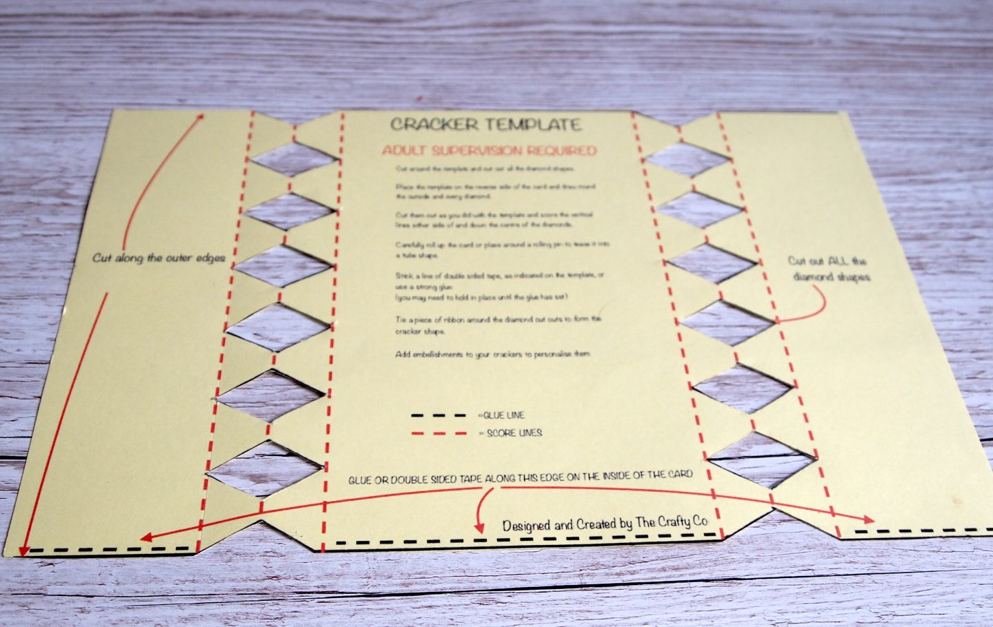 Make your own cracker cardboard template