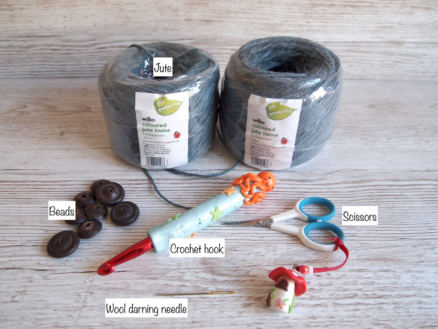what you need for crochet jute bunting
