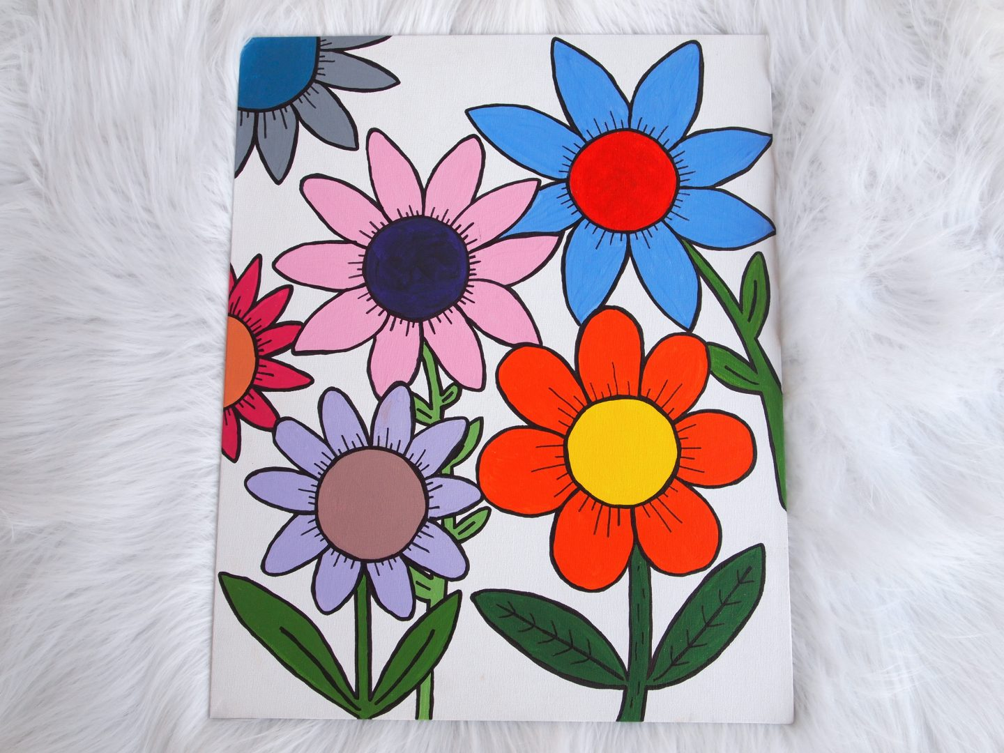 finished flower canvas art