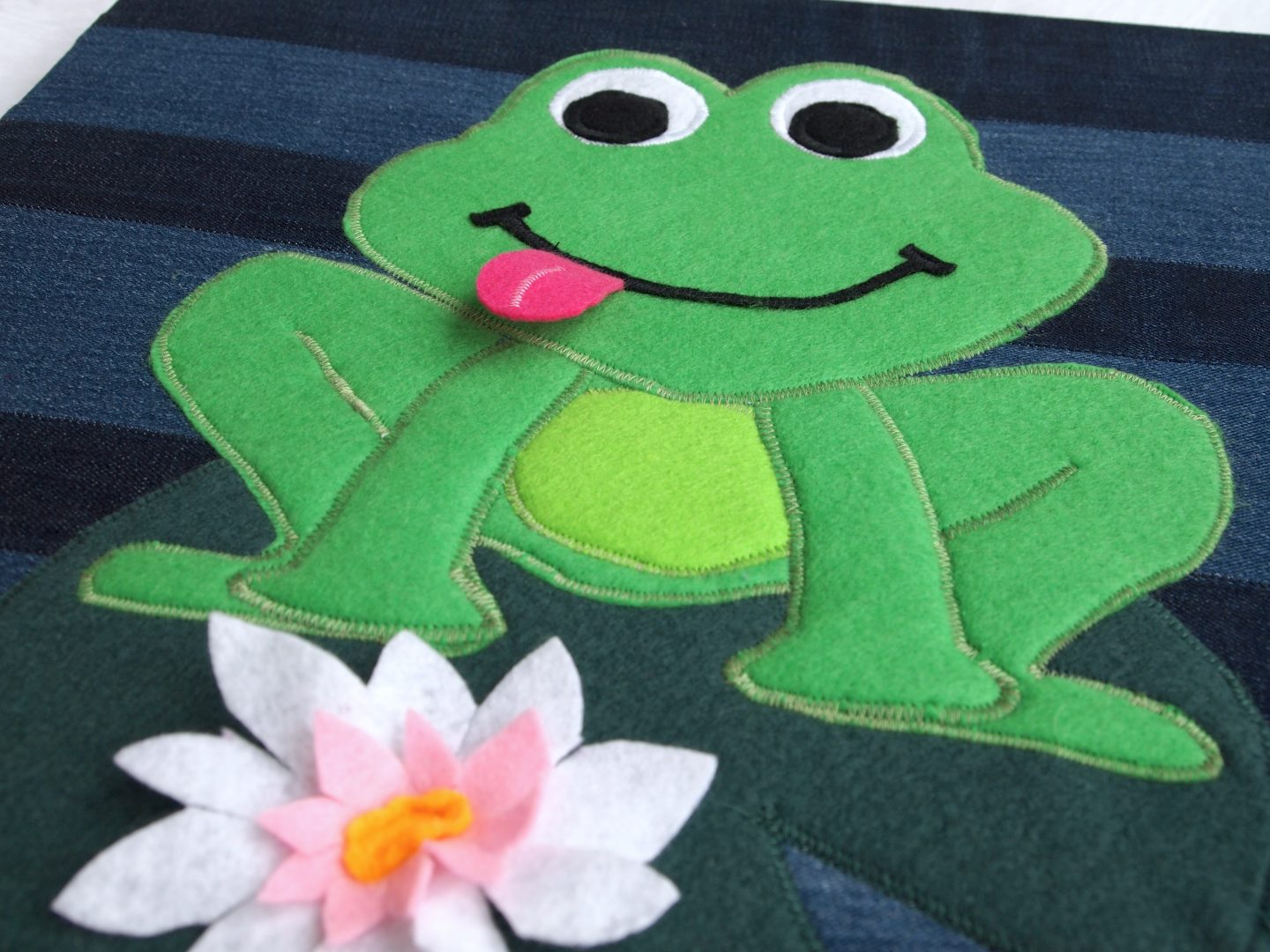 recycled canvas art of frog