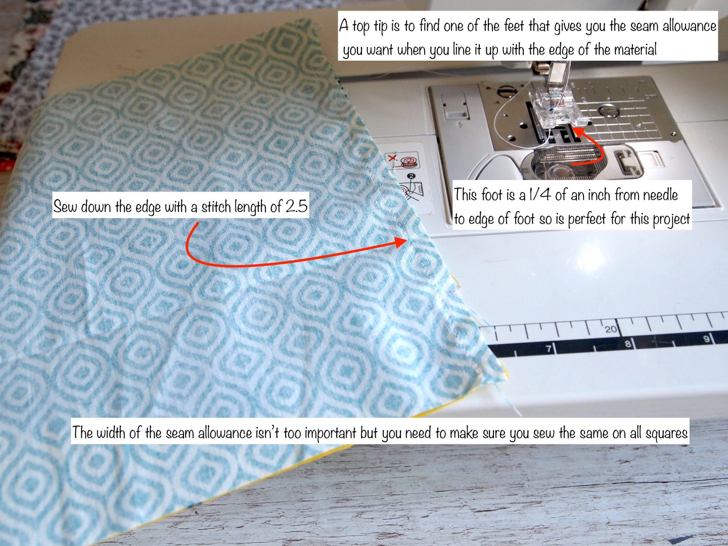 sewing the squares on tutorial for patchwork quilt