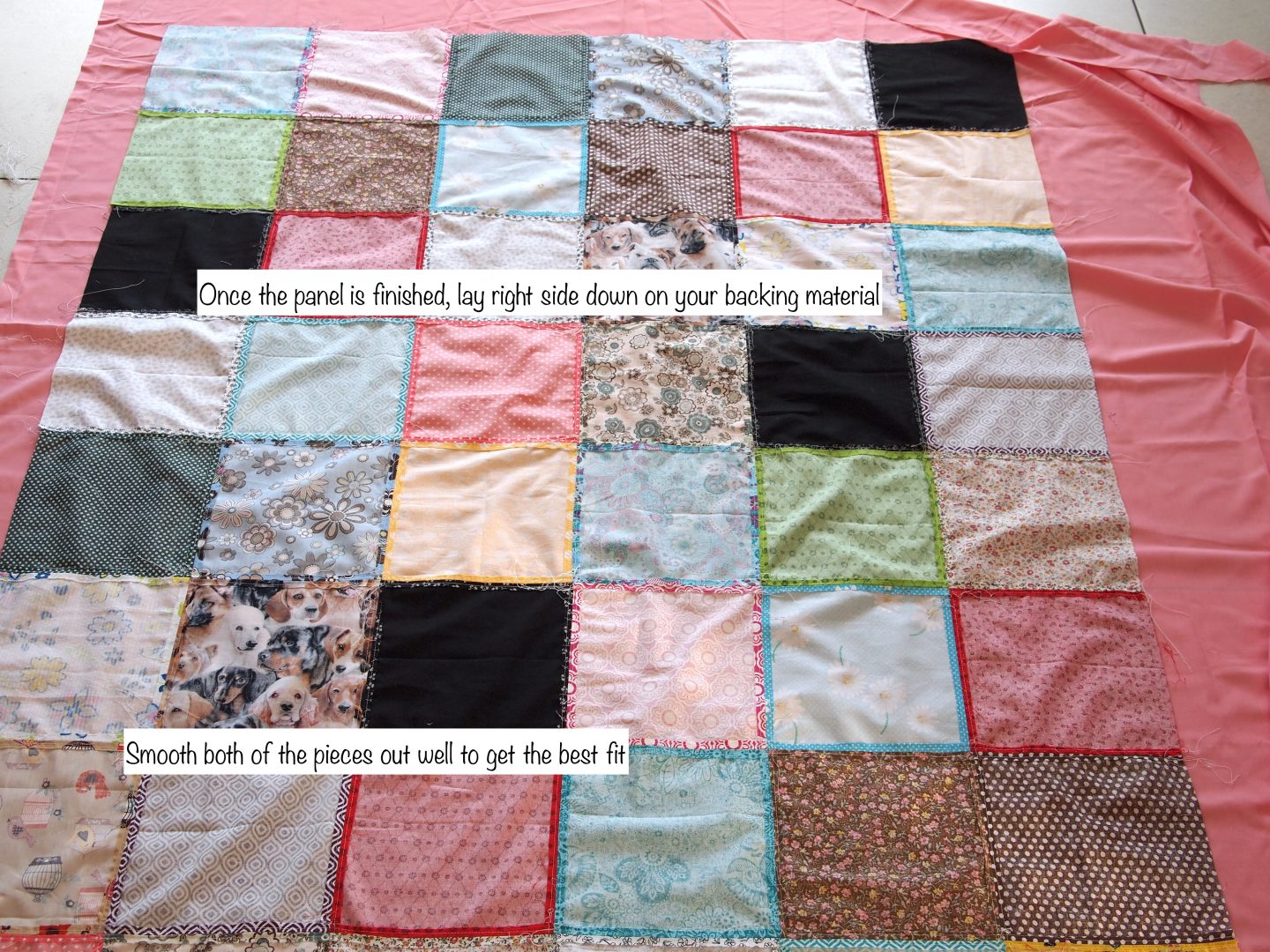 pressing the squares on tutorial for patchwork quilt