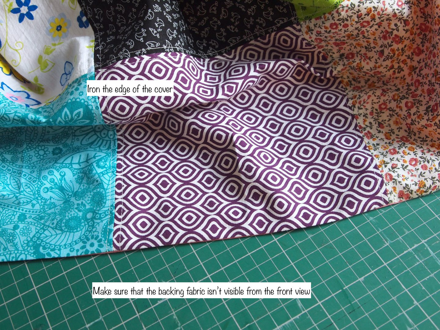 finishing the squares on tutorial for patchwork quilt