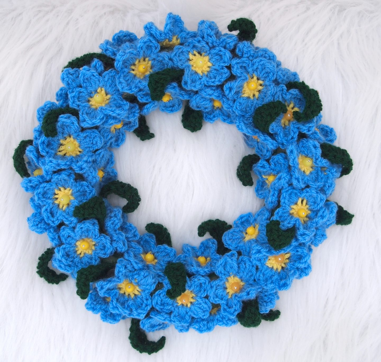 forget me not crochet wreath