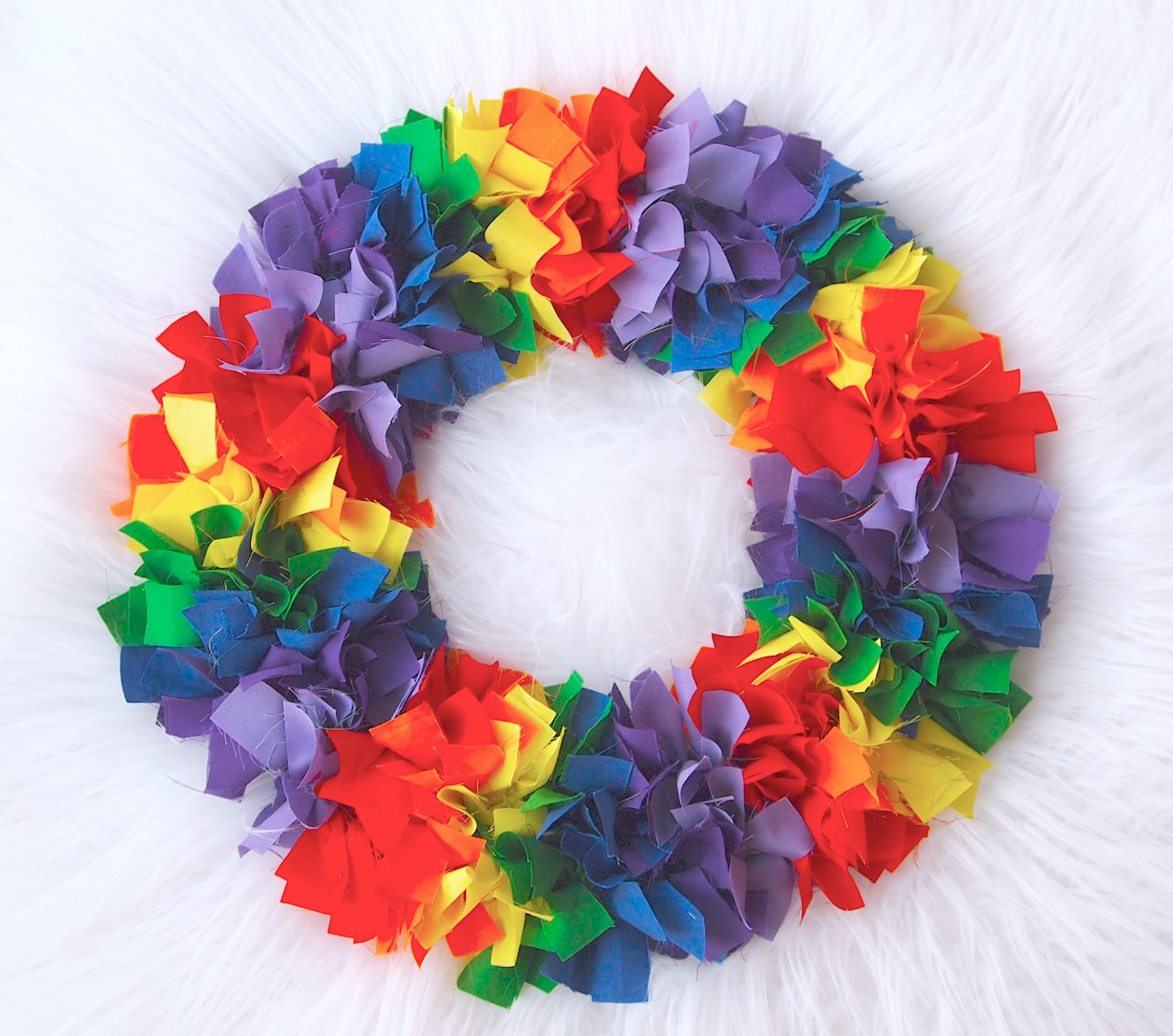 finished rag wreath tutorial