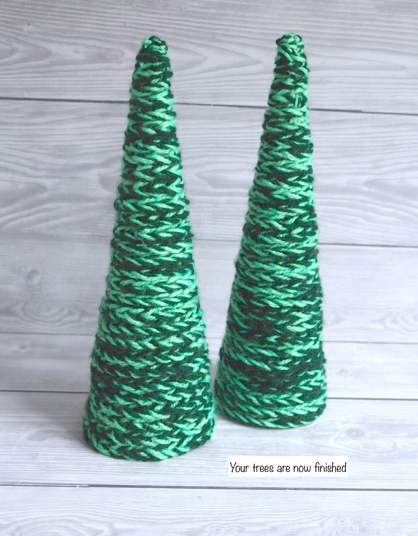 adding crochet to christmas tree cone