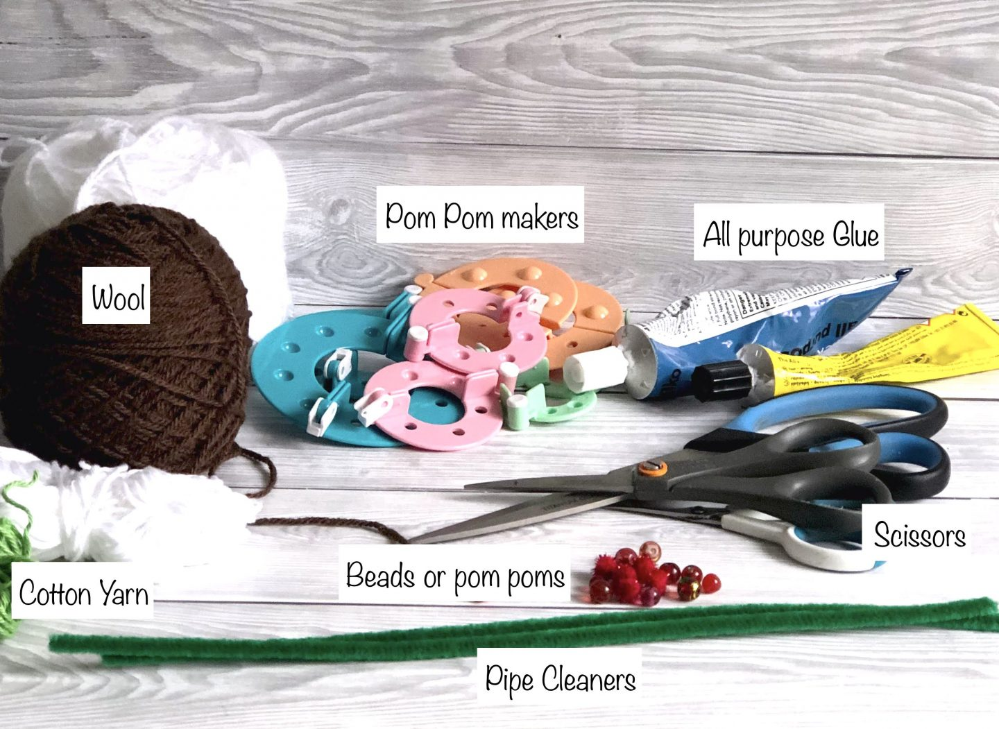 Materials for pom pom pudding
