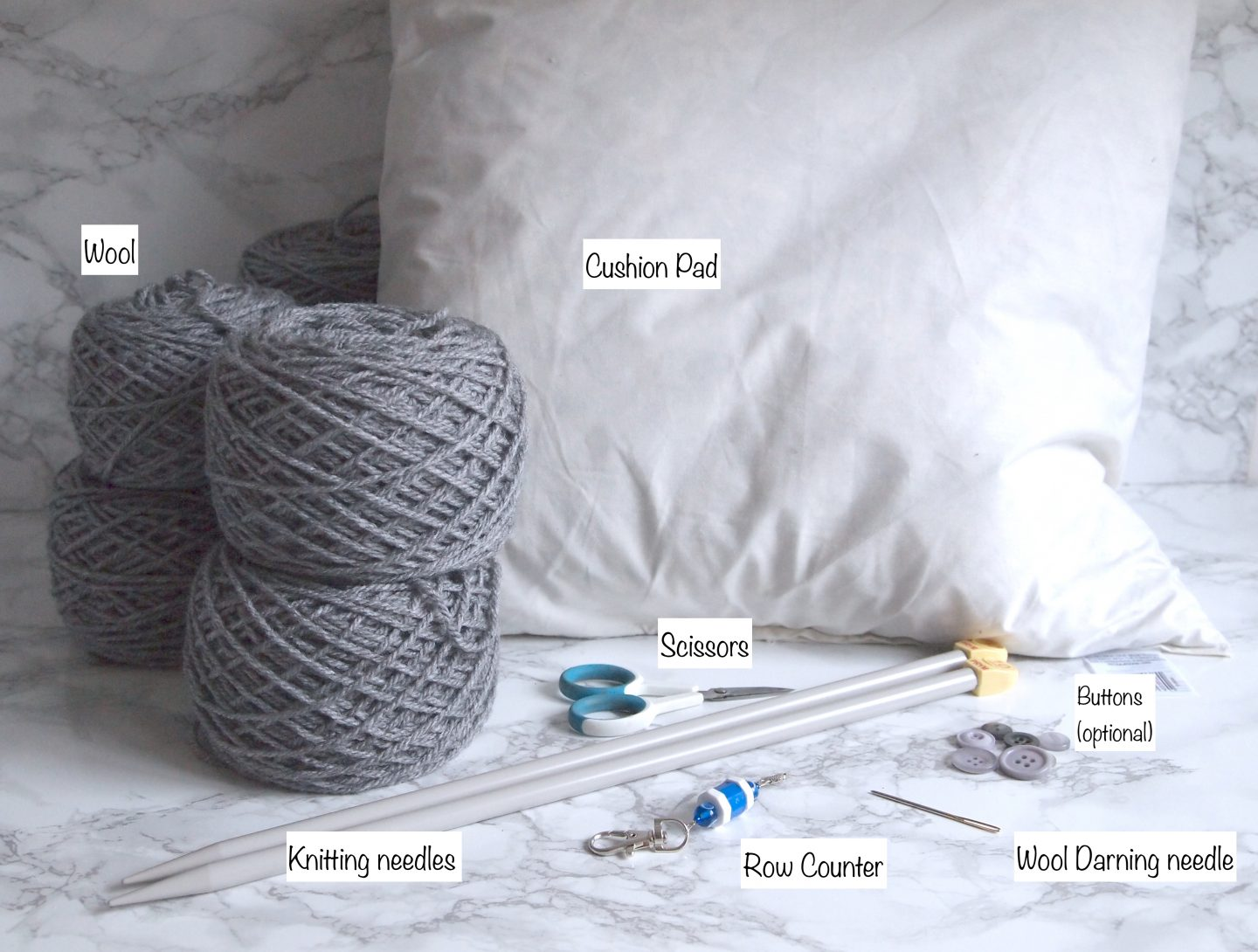 what you need to make a knitted cushion