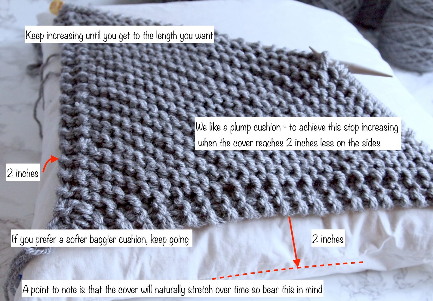 knitting a cushion cover