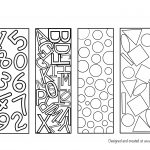 letter shapes bookmark colouring page