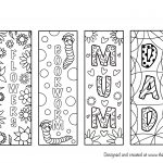 mum dad bookmark colouring page