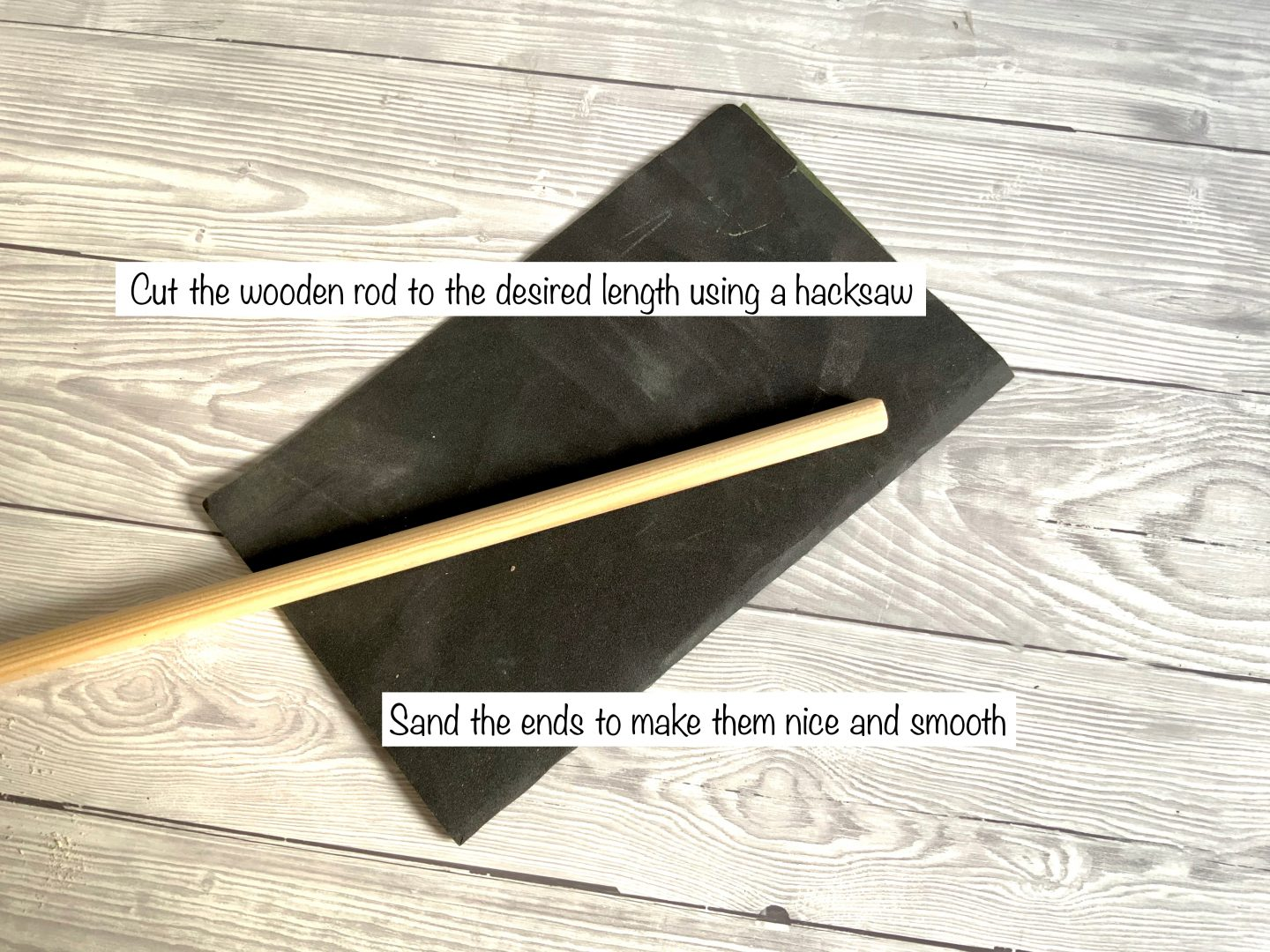 Sanding a rod for a wall hanging